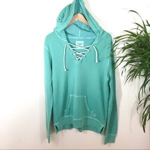 American Eagle lace up Cozy Hoodie size Large